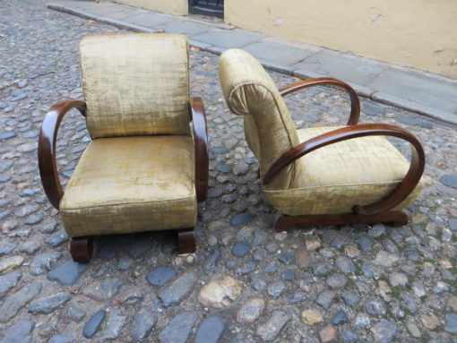Pair of Art Deco hooped armchairs