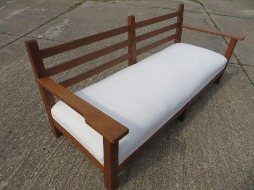 Arts and Craft long limed Oak sofa