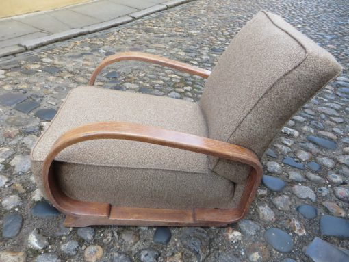 Heals low wooden armed chair