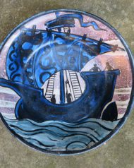 John Pearson Galleon dish with Luster sky