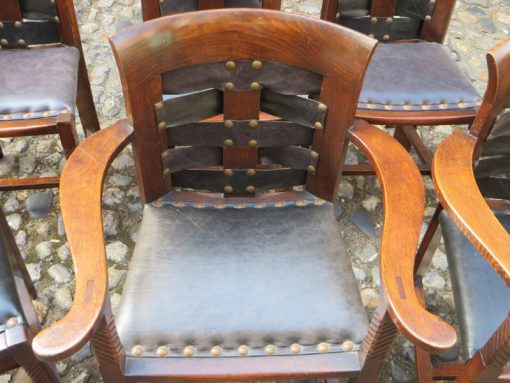 Carver Arts and Craft set of solid Oak dining chairs
