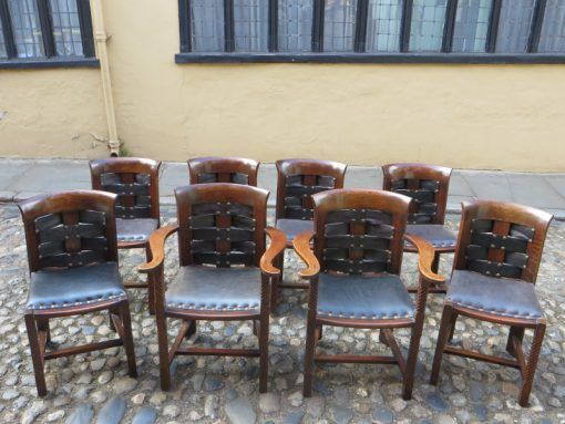 Arts and Craft set of solid Oak dining chairs
