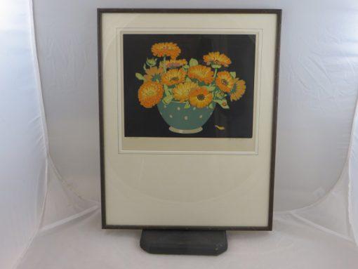 Hall Thorpe 'Marigolds' woodcut print