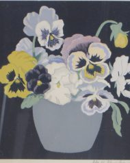 Hall Thorpe 'Pansies' Woodcut print