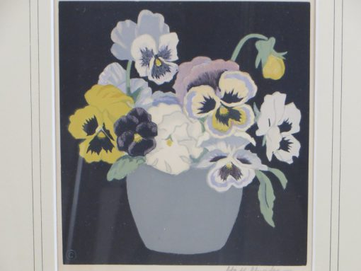 Hall Thorpe 'Pansies' Woodcut print