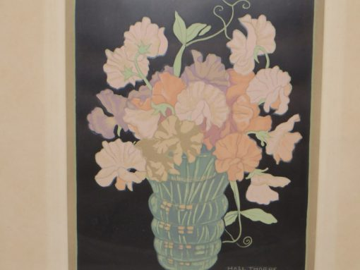 Hall Thorpe 'Sweet peas' Woodcut print Cover image for exhibition