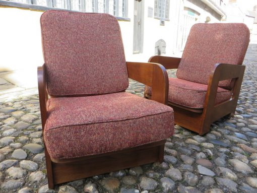 Pair or Reclining Oak Armchairs 1930's possible Heals and son