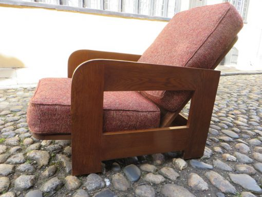 Pair or Reclining Oak Armchairs 1930's